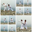 Stock Photo: Karate fight collage. Made of ten photos.
