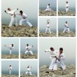 Stockfoto: Karate fight collage. Made of ten photos.