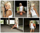 バスケット ボールの女の子コラージュ。5 枚の写真から成っています。. — ストック写真