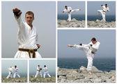 Karate-kampf-collage. hergestellt aus sechs fotos. — Stockfoto