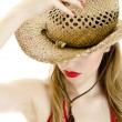 Woman in straw hat. isolated on white. — Stock Photo