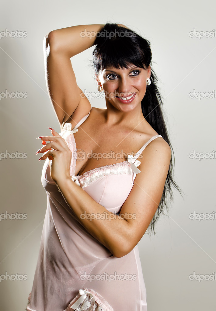 Female posing in nightie.  Stock Photo #9658763