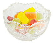 Crystal vase with jelly candies — Stock Photo
