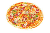 Delicious pizza with salami and cheese — Stock Photo