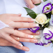 Stock Photo: Hands of newlyweds with wedding rings