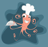 Cartoon Octopus Chef — Stok Vektör