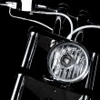 Stock Photo: Chrome chopper handlebars