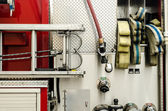 Firefighters equipment in a truck — Stock Photo