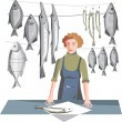 Royalty-Free Stock Vector Image: Seller of fish