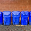 Five Bright Blue Recycle Bins — Foto Stock