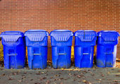 Five Bright Blue Recycle Bins — Stock Photo