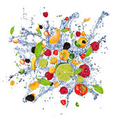 Mix fruits in splash — Stock Photo