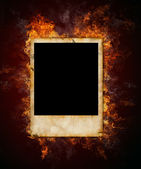 Burning photo frame — Stock Photo