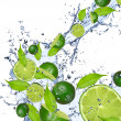 Royalty-Free Stock Photo: Limes in splash