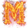 "Fire letter ""m"" — Stock Photo"