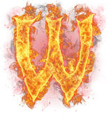 "Fire letter ""w"" — Stock Photo"