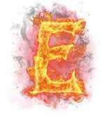 """Fire letter """"E"""" — Stock Photo"""