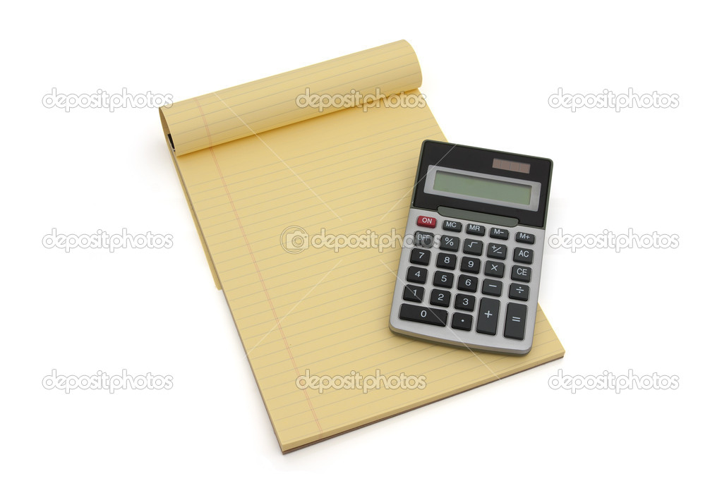 Blank yellow lined notepad with copy-space and a calculator  Stock Photo #8350477