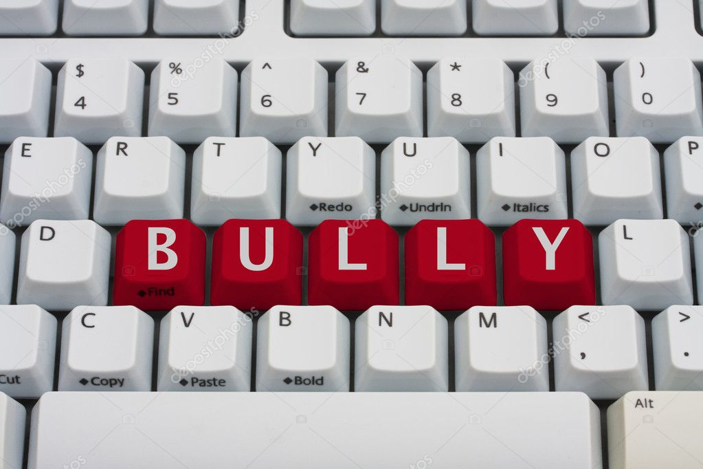 Computer keyboard key displaying word bully, Bullying on the Internet — Stock Photo #8549517