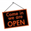 Come in we are open sign — Stockfoto