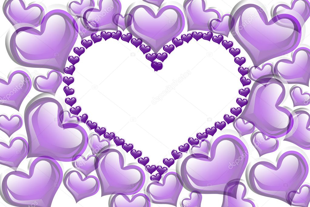 Purple hearts with a copy-space of a heart shape isolated on a white background, Purple Hearts background — Stock Photo #9192236