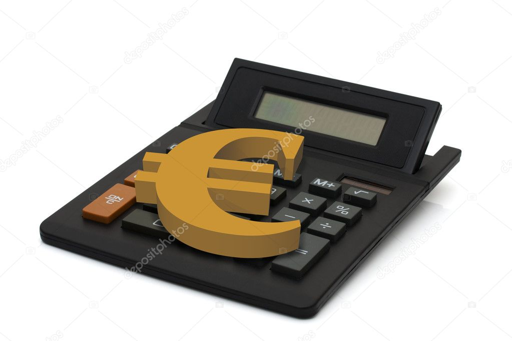 Black calculator with screen display and gold euro sign isolated on white background, Calculating your finances — Stock Photo #9681775