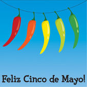 Cinco de Mayo chili pepper greeting cards in vector format. — Stock Vector