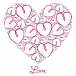 Fuchsia hand drawn heart of hearts card in vector format. — Stockvectorbeeld