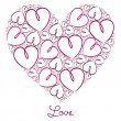 Fuchsia hand drawn heart of hearts card in vector format. — Imagen vectorial