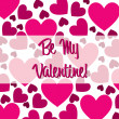 Be My Valentine pink heart scatter card in vector format. — Stockvectorbeeld