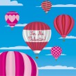 Valentine's hot air balloons in Spanish — Imagen vectorial