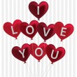 I love you balloon card in vector format. — Vettoriali Stock