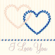 Cream and blue pearl hearts in vector format. — Stockvectorbeeld
