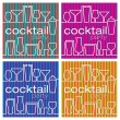 A set of four bright cocktail party cards in vector format. — Stock Vector