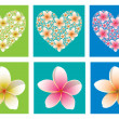 Bright mosaic heart made out of many small frangipani in vector format. — Stock Vector