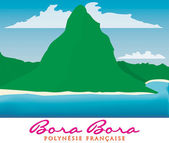 Otemanu mountain of Bora Bora, French Polynesia in vector format. — Stock Vector