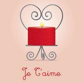 Kocham cię, świeca i posiadacza karty projektu — Wektor stockowy