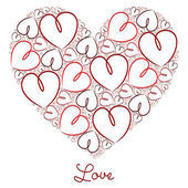 Fuchsia hand drawn heart of hearts card in vector format. — Stock Vector