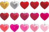 Patterned heart ornaments in a variety of reds and pinks. — Stock Vector