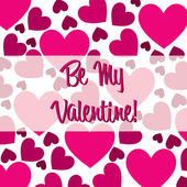 Be My Valentine pink heart scatter card in vector format. — Vettoriale Stock