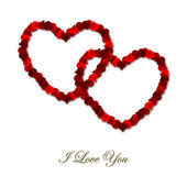 Inter linked rose petal heart card template in vector format. — Stock Vector