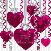Curling ribbon heart bauble Happy Valentine's Day card in vector format. — Stock Vector