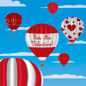 Valentine's hot air balloons in French — Stock Vector
