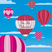 Valentine's hot air balloons in Spanish — Stock Vector