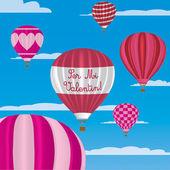 Valentine's hot air balloons in Spanish — Stock vektor