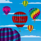 "Multi coloured hot air balloons with ""Te Amo"" in vector format on a sky background. — Vecteur"