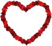 Röda rosenblad hjärta vektorbild på en vit bakgrund. — Stockvektor
