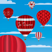 """I Love You"" hot air balloons in French — Stockvektor"