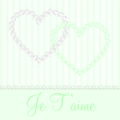 白色和绿色的薄荷除链接珍珠心形卡矢量格式. — 图库矢量图片