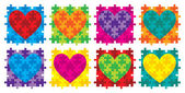 Heart jigsaw puzzle in vector format. — Stock Vector